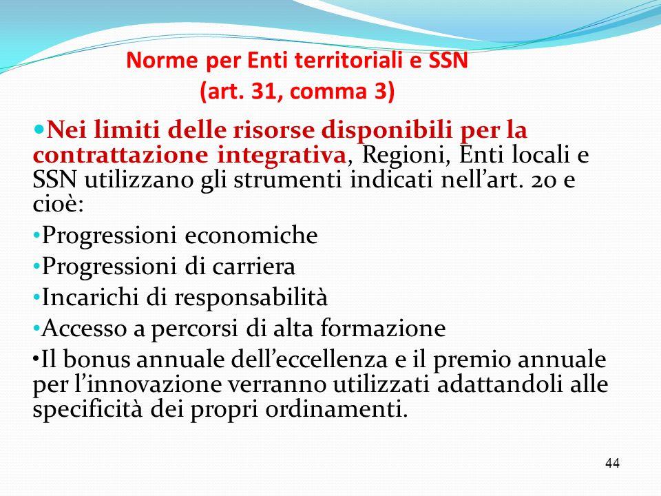 44 Norme per Enti territoriali e SSN (art. 31, comma 3) Nei limiti delle risorse disponibili per la contrattazione integrativa, Regioni, Enti locali e