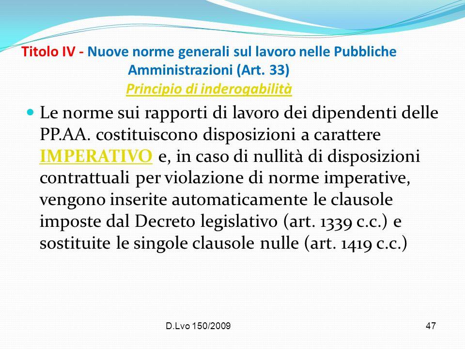 D.Lvo 150/200947 Titolo IV - Nuove norme generali sul lavoro nelle Pubbliche Amministrazioni (Art. 33) Principio di inderogabilità Principio di indero