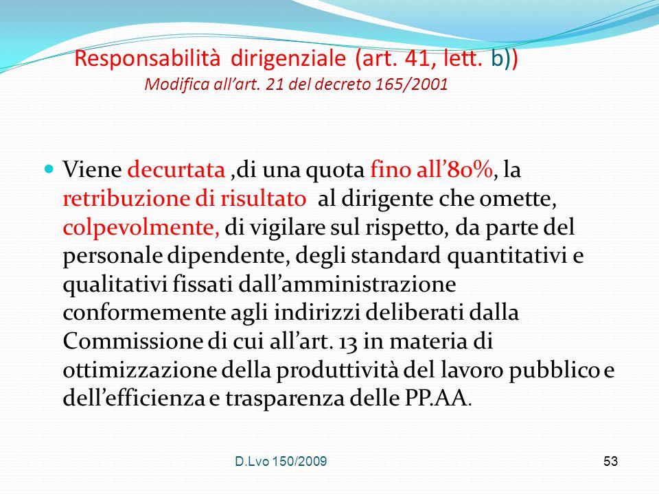 D.Lvo 150/200953 Responsabilità dirigenziale (art. 41, lett. b)) Modifica allart. 21 del decreto 165/2001 Viene decurtata,di una quota fino all80%, la