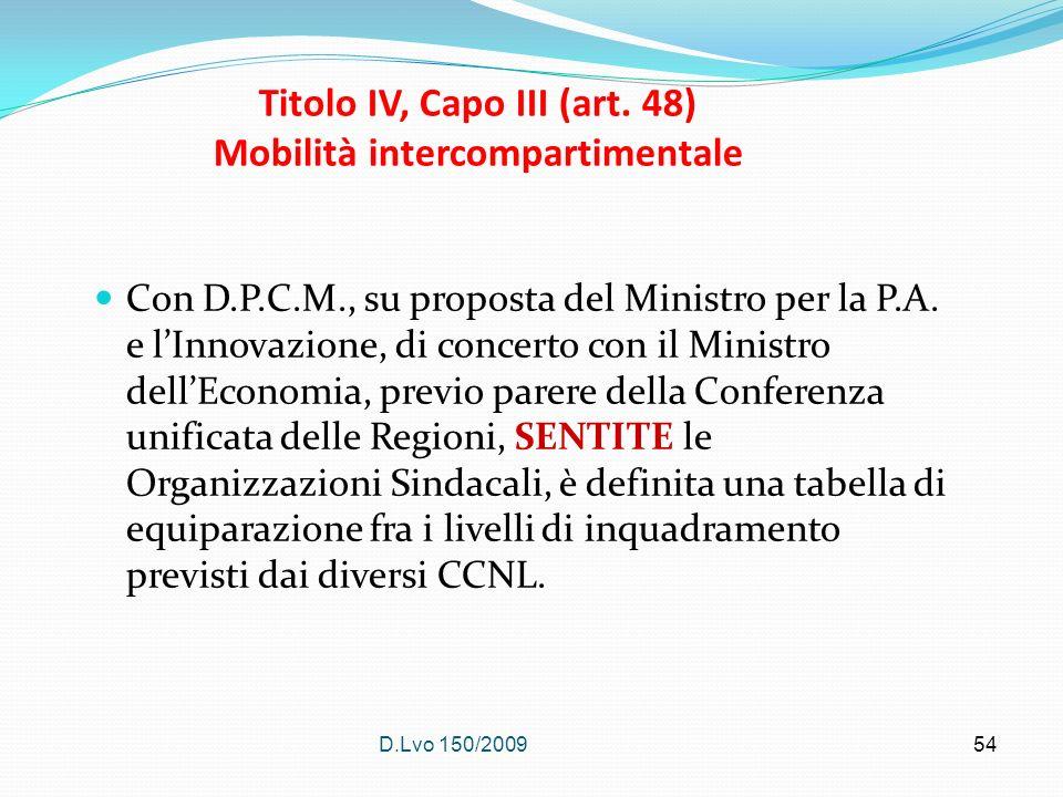D.Lvo 150/2009 54 Titolo IV, Capo III (art. 48) Mobilità intercompartimentale Con D.P.C.M., su proposta del Ministro per la P.A. e lInnovazione, di co