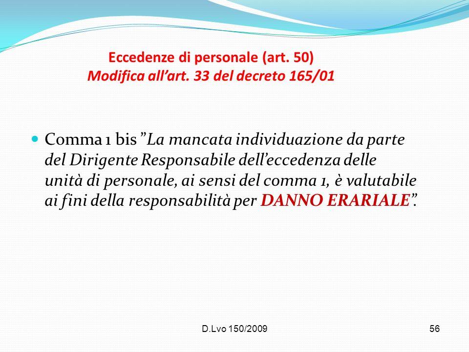 D.Lvo 150/200956 Eccedenze di personale (art. 50) Modifica allart. 33 del decreto 165/01 Comma 1 bis La mancata individuazione da parte del Dirigente