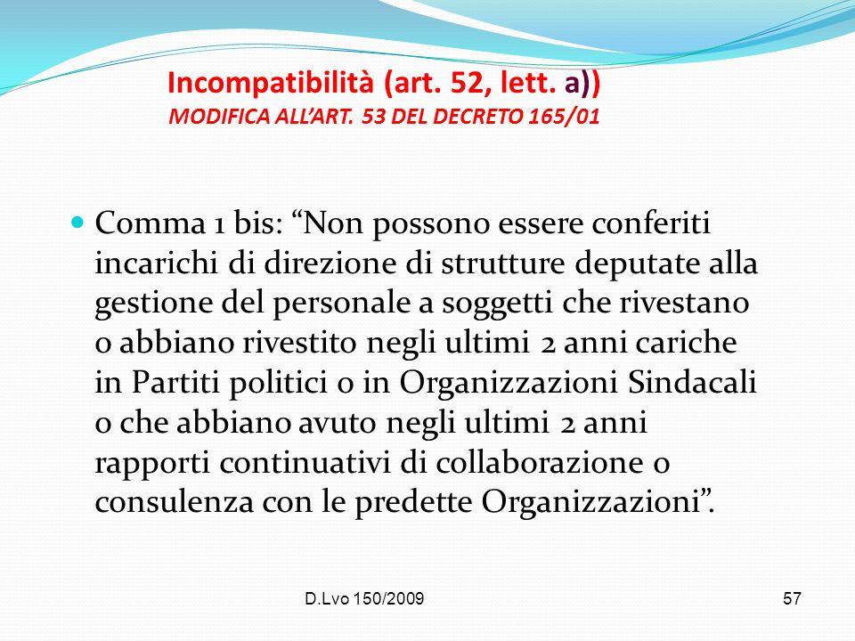D.Lvo 150/2009 57 Incompatibilità (art. 52, lett. a)) MODIFICA ALLART. 53 DEL DECRETO 165/01 Comma 1 bis: Non possono essere conferiti incarichi di di