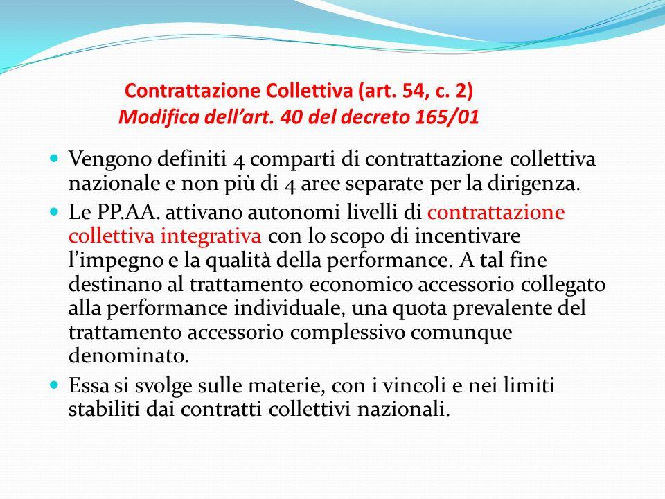 Contrattazione Collettiva (art. 54, c. 2) Modifica dellart. 40 del decreto 165/01 Vengono definiti 4 comparti di contrattazione collettiva nazionale e