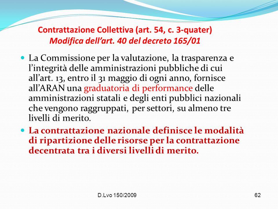 D.Lvo 150/200962 Contrattazione Collettiva (art. 54, c. 3-quater) Modifica dellart. 40 del decreto 165/01 La Commissione per la valutazione, la traspa