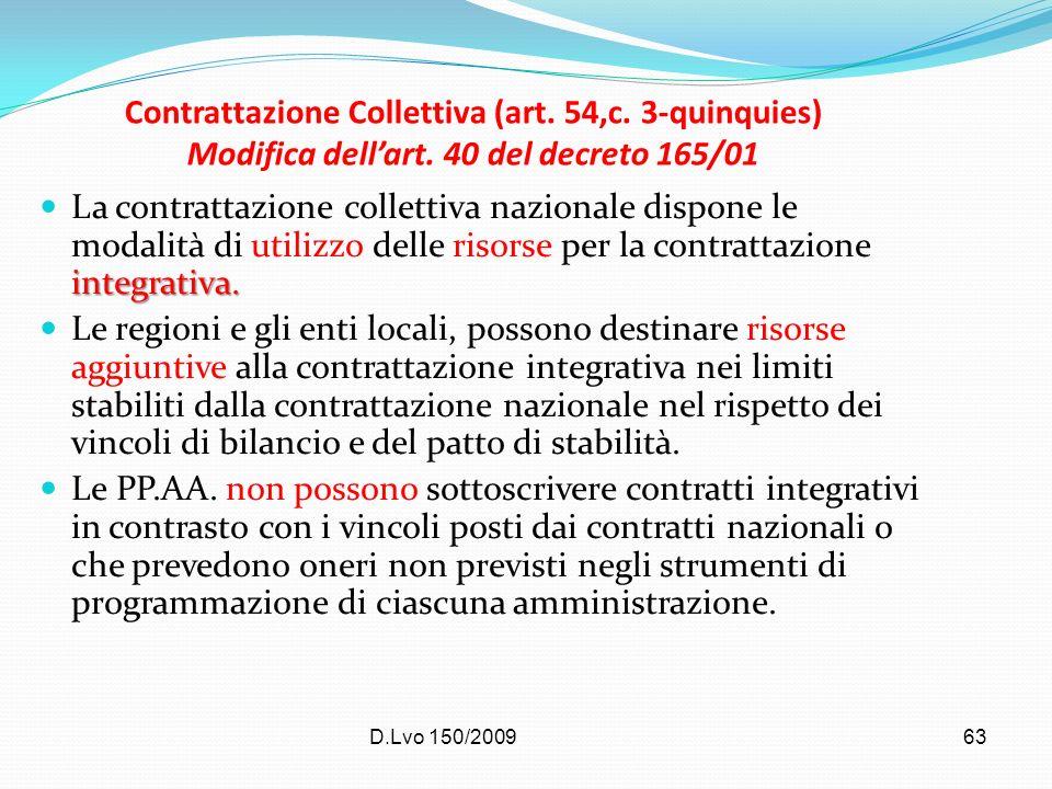 D.Lvo 150/200963 Contrattazione Collettiva (art. 54,c. 3-quinquies) Modifica dellart. 40 del decreto 165/01 integrativa. La contrattazione collettiva