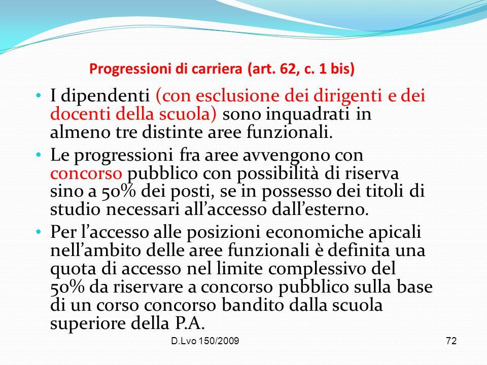 D.Lvo 150/200972 Progressioni di carriera (art. 62, c. 1 bis) I dipendenti (con esclusione dei dirigenti e dei docenti della scuola) sono inquadrati i