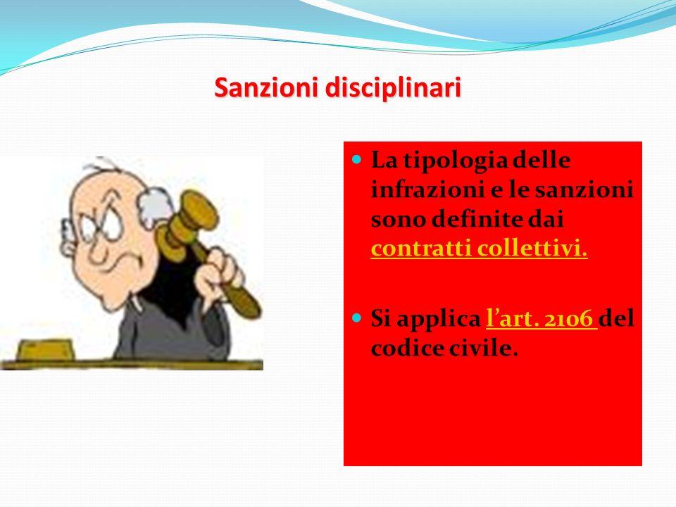 Sanzioni disciplinari La tipologia delle infrazioni e le sanzioni sono definite dai contratti collettivi. contratti collettivi. Si applica lart. 2106