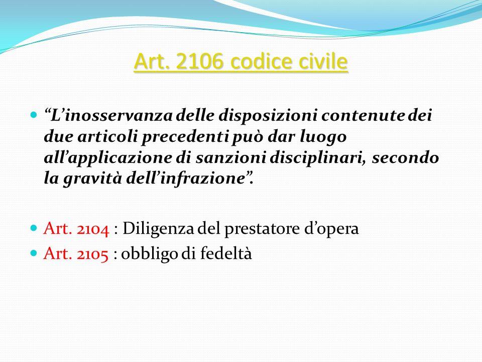Art. 2106 codice civile Art. 2106 codice civile Linosservanza delle disposizioni contenute dei due articoli precedenti può dar luogo allapplicazione d
