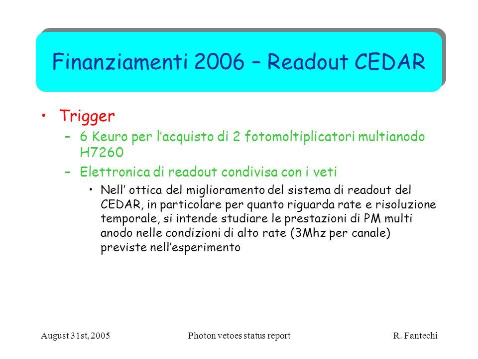 August 31st, 2005Photon vetoes status report R. Fantechi Finanziamenti 2006 – Readout CEDAR Trigger –6 Keuro per lacquisto di 2 fotomoltiplicatori mul