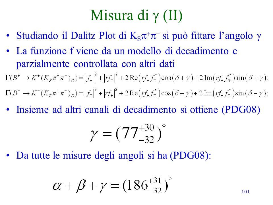101 Misura di Studiando il Dalitz Plot di K S si può fittare langolo La funzione f viene da un modello di decadimento e parzialmente controllata con a