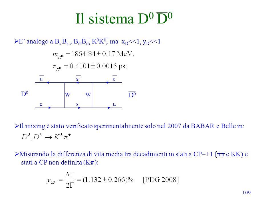 109 Il sistema D 0 D 0 E analogo a B s B s, B d B d, K 0 K 0, ma x D <<1, y D <<1 Misurando la differenza di vita media tra decadimenti in stati a CP=
