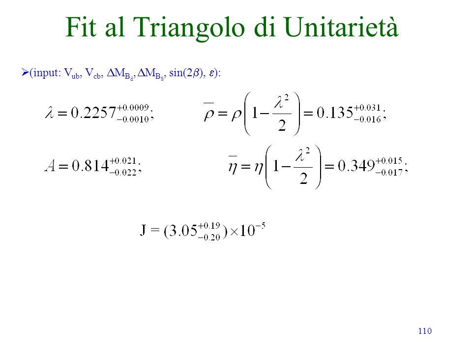 110 Fit al Triangolo di Unitarietà (input: V ub, V cb, M B d, M B S, sin(2 ), ):