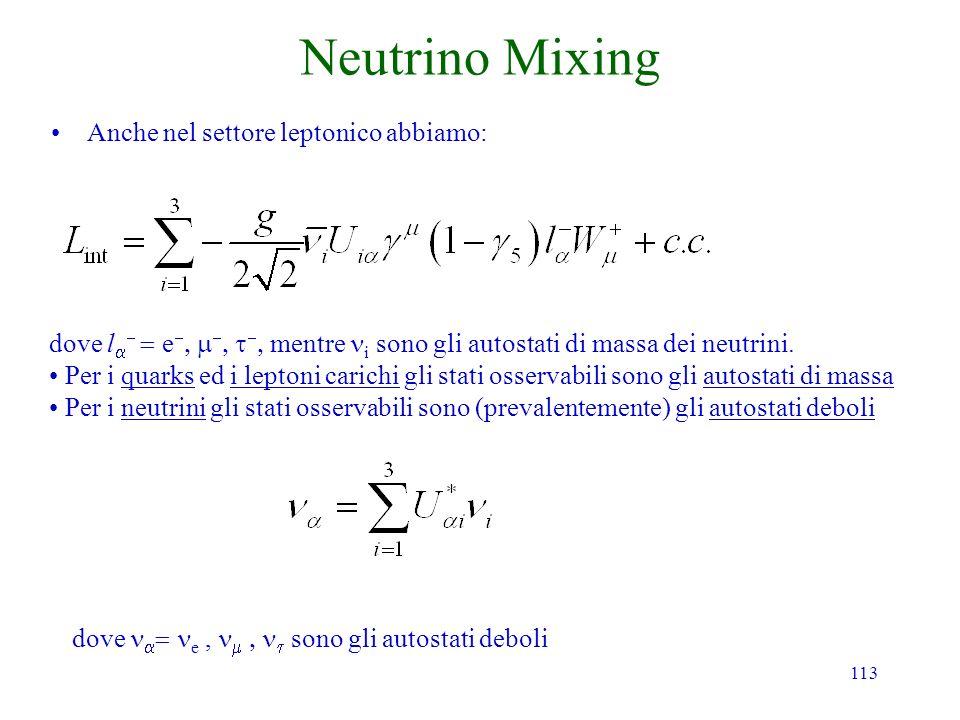 113 Neutrino Mixing Anche nel settore leptonico abbiamo: dove l e mentre i sono gli autostati di massa dei neutrini. Per i quarks ed i leptoni carichi