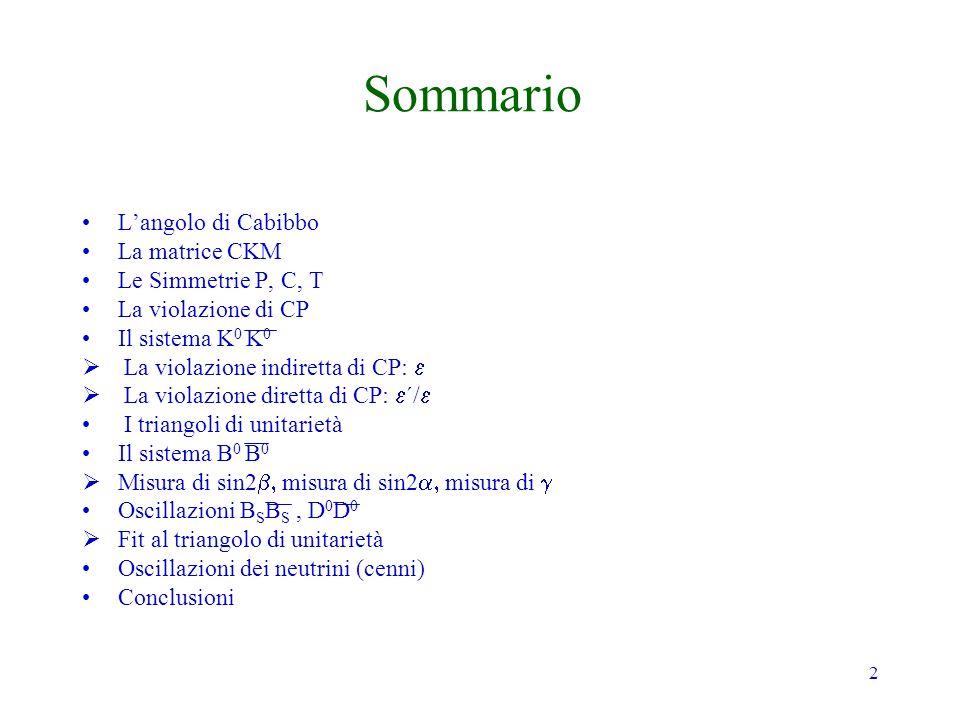 33 La Parità di un sistema si conserva se: dove H è lhamiltoniana del sistema Esempio: Funzioni donda dellAtomo di Idrogeno Le armoniche sferiche hanno parità ( 1) l
