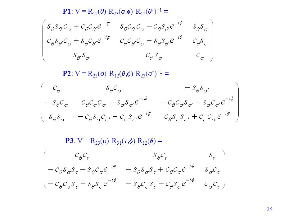 25 P1: V = R 12 ( ) R 23 ( ) R 12 ( ) P2: V = R 23 ( ) R 12 ( ) R 23 ( ) P3: V = R 23 ( ) R 31 ( ) R 12 ( )