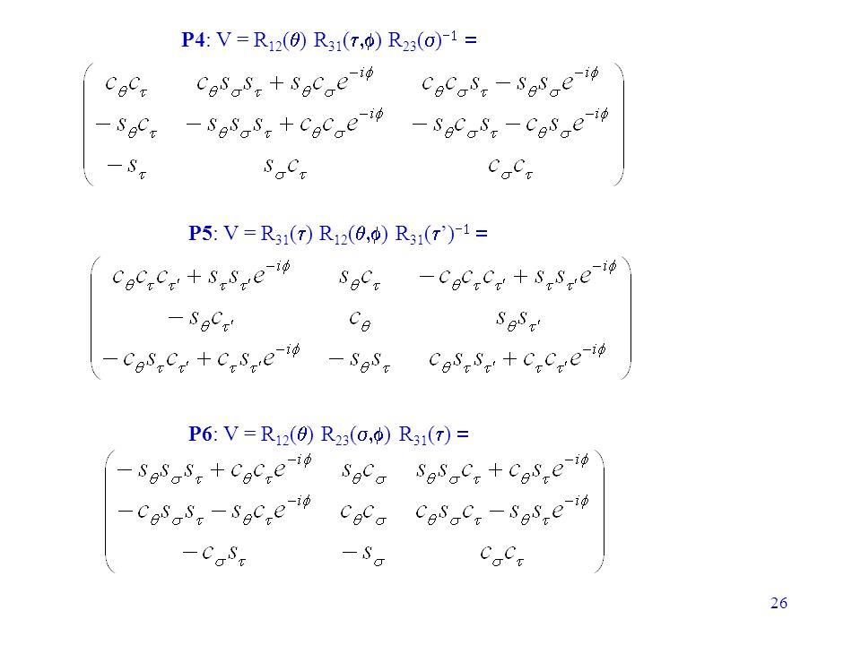 26 P4: V = R 12 ( ) R 31 ( ) R 23 ( ) P5: V = R 31 ( ) R 12 ( ) R 31 ( ) P6: V = R 12 ( ) R 23 ( ) R 31 ( )