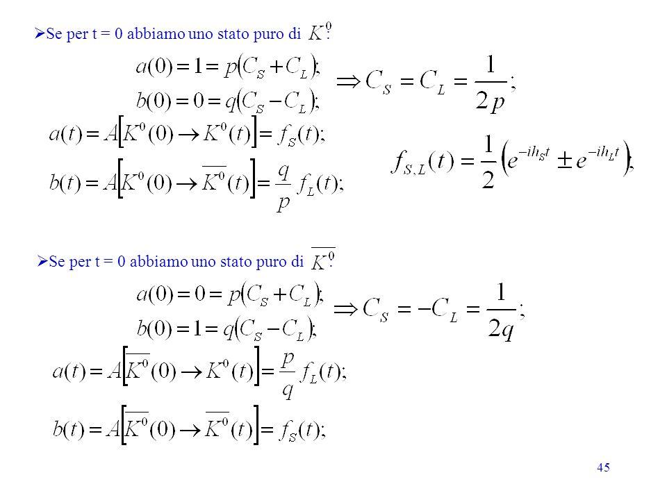 45 Se per t = 0 abbiamo uno stato puro di :