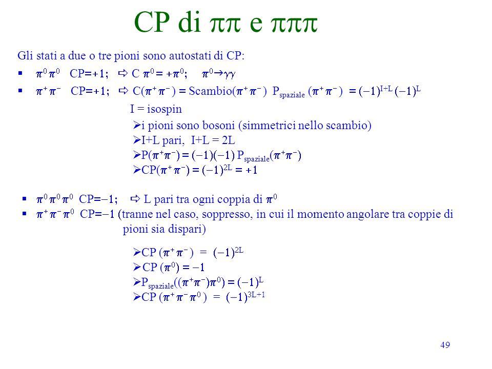 49 CP di e Gli stati a due o tre pioni sono autostati di CP: CP C CP C( ) Scambio( ) P spaziale ( ) I+L L I = isospin i pioni sono bosoni (simmetrici