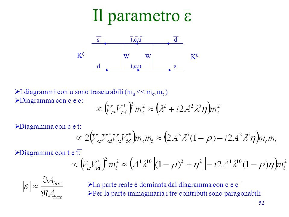 52 Il parametro K0K0 K0K0 s dt,c,u d s WW I diagrammi con u sono trascurabili (m u << m c, m t ) Diagramma con c e c: Diagramma con c e t: Diagramma c