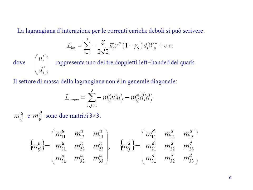 6 La lagrangiana dinterazione per le correnti cariche deboli si può scrivere: rappresenta uno dei tre doppietti left handed dei quark Il settore di ma