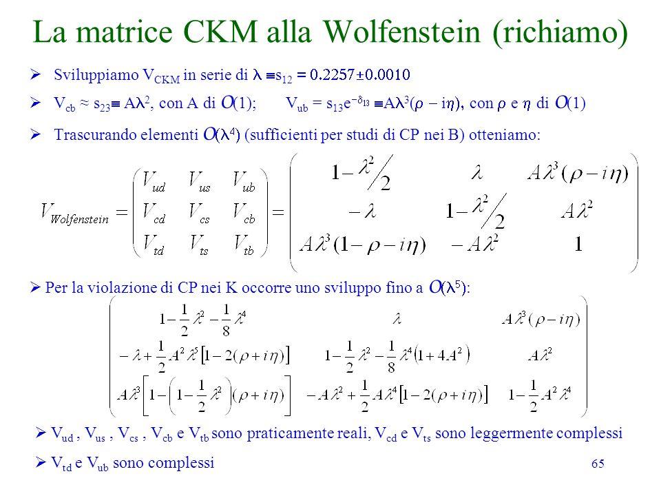 65 La matrice CKM alla Wolfenstein (richiamo) Sviluppiamo V CKM in serie di s 12 V cb s 23 A 2, con A di O (1); V ub = s 13 e A 3 ( i con e di O (1) T