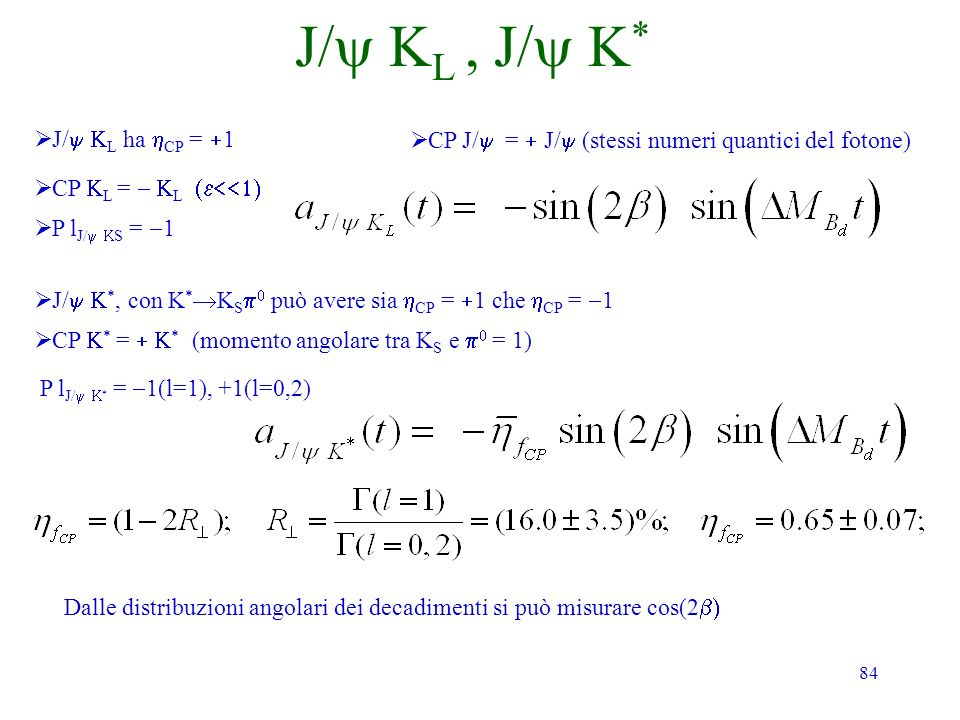 84 J/ L, J/ * J/ L ha CP = 1 CP J/ = J/ (stessi numeri quantici del fotone) CP L = L P l J/ S = 1 J/ *, con K * K S può avere sia CP = 1 che CP = 1 CP