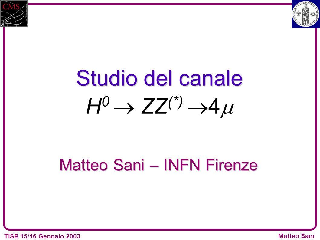 TISB 15/16 Gennaio 2003 Matteo Sani Studio del canale Studio del canale H 0 ZZ (*) 4 Matteo Sani – INFN Firenze