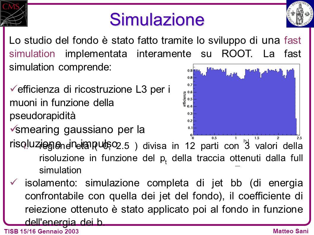 TISB 15/16 Gennaio 2003 Matteo SaniSimulazione Lo studio del fondo è stato fatto tramite lo sviluppo di una fast simulation implementata interamente su ROOT.