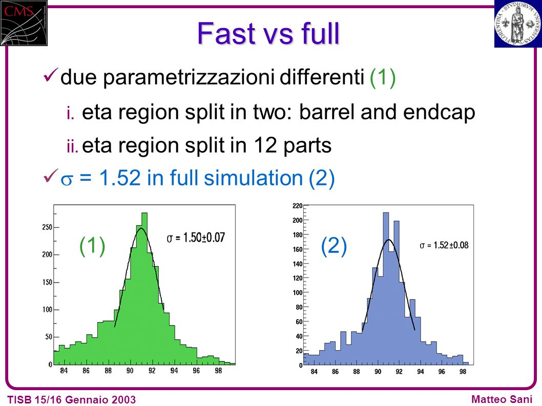 TISB 15/16 Gennaio 2003 Matteo Sani due parametrizzazioni differenti (1) i. eta region split in two: barrel and endcap ii. eta region split in 12 part