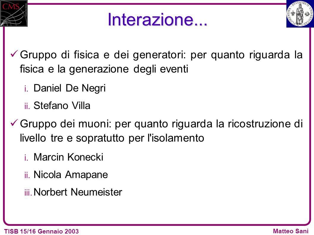 TISB 15/16 Gennaio 2003 Matteo Sani Interazione...