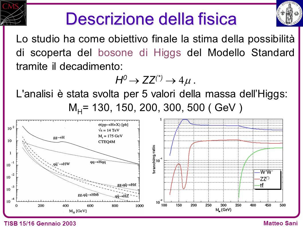 TISB 15/16 Gennaio 2003 Matteo Sani Descrizione della fisica Lo studio ha come obiettivo finale la stima della possibilità di scoperta del bosone di Higgs del Modello Standard tramite il decadimento: H 0 ZZ (*).