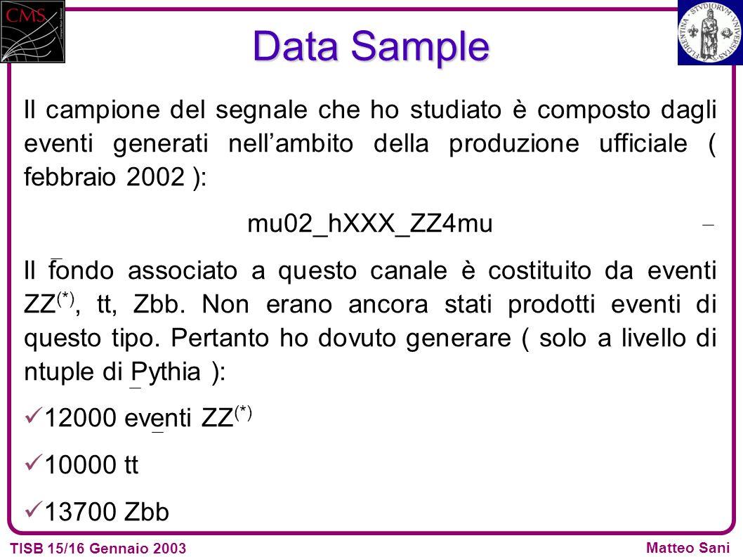 TISB 15/16 Gennaio 2003 Matteo Sani Data Sample Il campione del segnale che ho studiato è composto dagli eventi generati nellambito della produzione ufficiale ( febbraio 2002 ): mu02_hXXX_ZZ4mu Il fondo associato a questo canale è costituito da eventi ZZ (*), tt, Zbb.