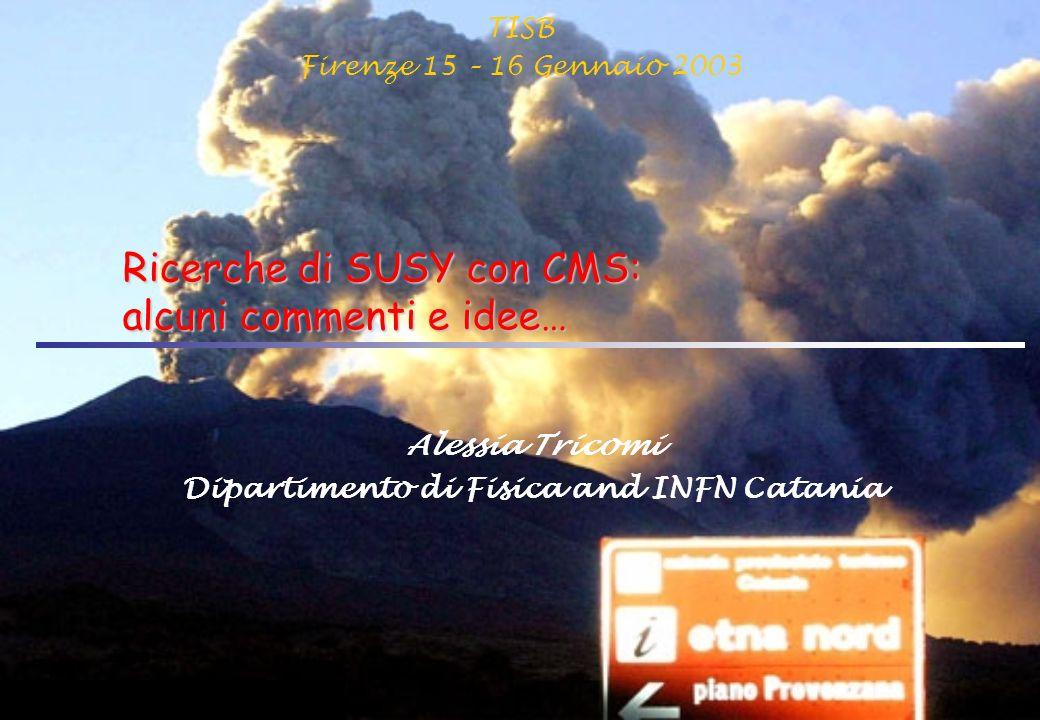 TISB Firenze 15 – 16 Gennaio 2003 Ricerche di SUSY con CMS: alcuni commenti e idee… Alessia Tricomi Dipartimento di Fisica and INFN Catania