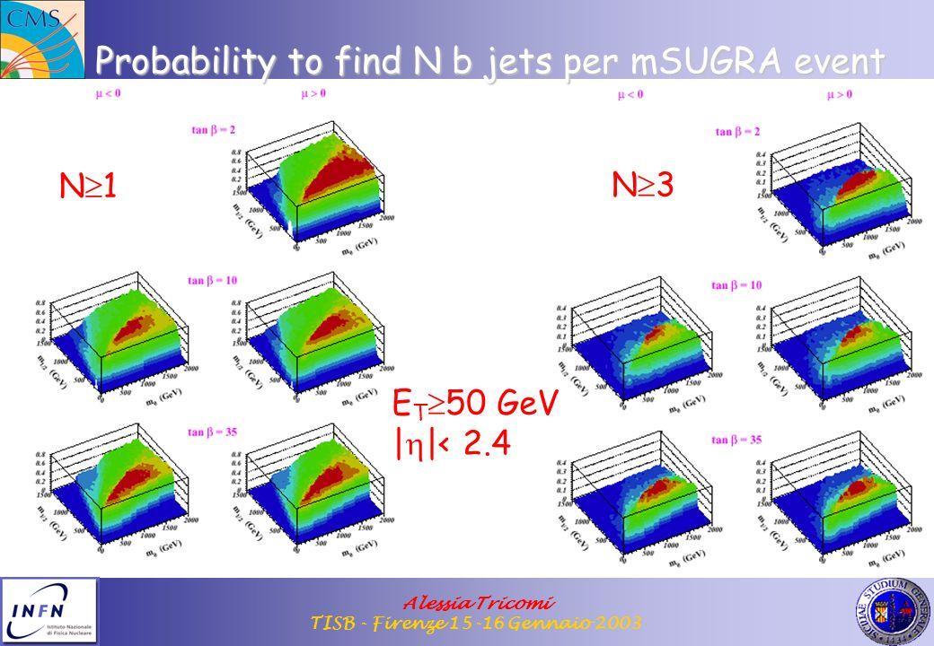 Alessia Tricomi TISB - Firenze 15-16 Gennaio 2003 Probability to find N b jets per mSUGRA event N 1 N 3 E T 50 GeV | |< 2.4