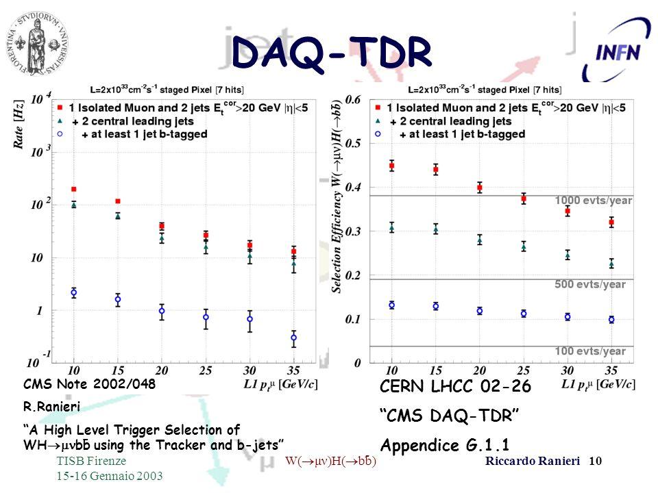 - TISB Firenze 15-16 Gennaio 2003 W( μν)H( bb)Riccardo Ranieri 10 DAQ-TDR CERN LHCC 02-26 CMS DAQ-TDR Appendice G.1.1 CMS Note 2002/048 R.Ranieri A Hi