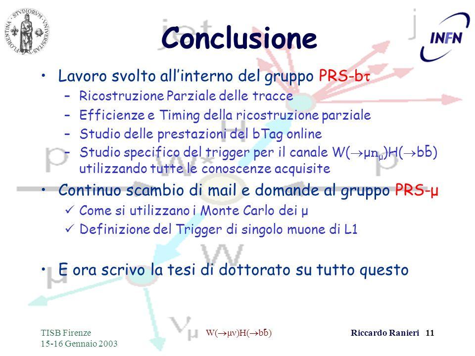 - TISB Firenze 15-16 Gennaio 2003 W( μν)H( bb)Riccardo Ranieri 11 Conclusione Lavoro svolto allinterno del gruppo PRS-b –Ricostruzione Parziale delle