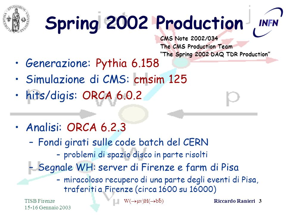 - TISB Firenze 15-16 Gennaio 2003 W( μν)H( bb)Riccardo Ranieri 3 Spring 2002 Production Generazione: Pythia 6.158 Simulazione di CMS: cmsim 125 hits/d