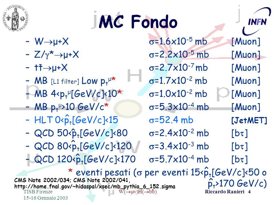 - TISB Firenze 15-16 Gennaio 2003 W( μν)H( bb)Riccardo Ranieri 4 MC Fondo –W μ+X =1.6x10 -5 mb[Muon] –Z/ * μ+X =2.2x10 -5 mb[Muon] –tt μ+X =2.7x10 -7