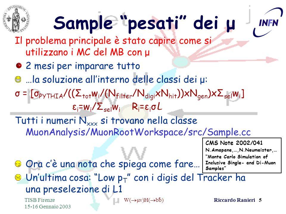 - TISB Firenze 15-16 Gennaio 2003 W( μν)H( bb)Riccardo Ranieri 5 Sample pesati dei μ Il problema principale è stato capire come si utilizzano i MC del