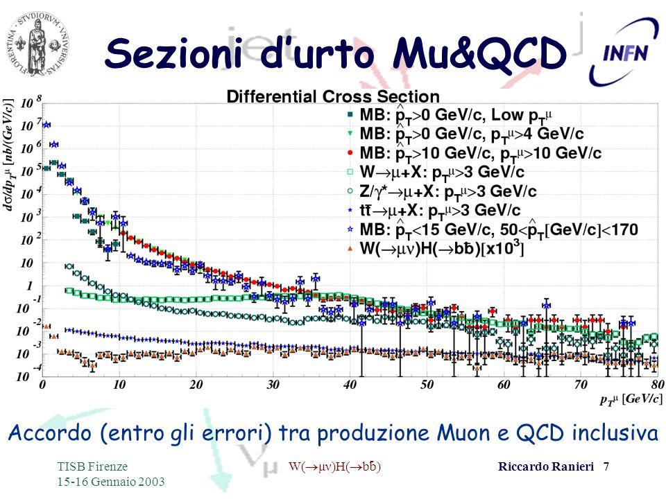 - TISB Firenze 15-16 Gennaio 2003 W( μν)H( bb)Riccardo Ranieri 7 Sezioni durto Mu&QCD Accordo (entro gli errori) tra produzione Muon e QCD inclusiva