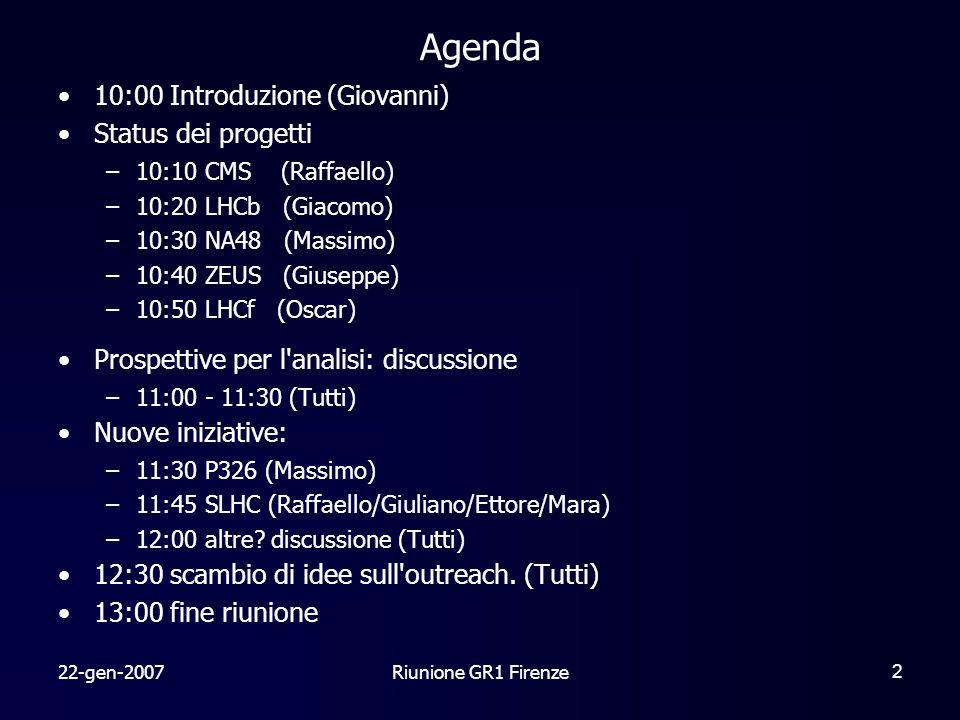 22-gen-2007Riunione GR1 Firenze2 Agenda 10:00 Introduzione (Giovanni) Status dei progetti –10:10 CMS (Raffaello) –10:20 LHCb (Giacomo) –10:30 NA48 (Massimo) –10:40 ZEUS (Giuseppe) –10:50 LHCf (Oscar) Prospettive per l analisi: discussione –11:00 - 11:30 (Tutti) Nuove iniziative: –11:30 P326 (Massimo) –11:45 SLHC (Raffaello/Giuliano/Ettore/Mara) –12:00 altre.