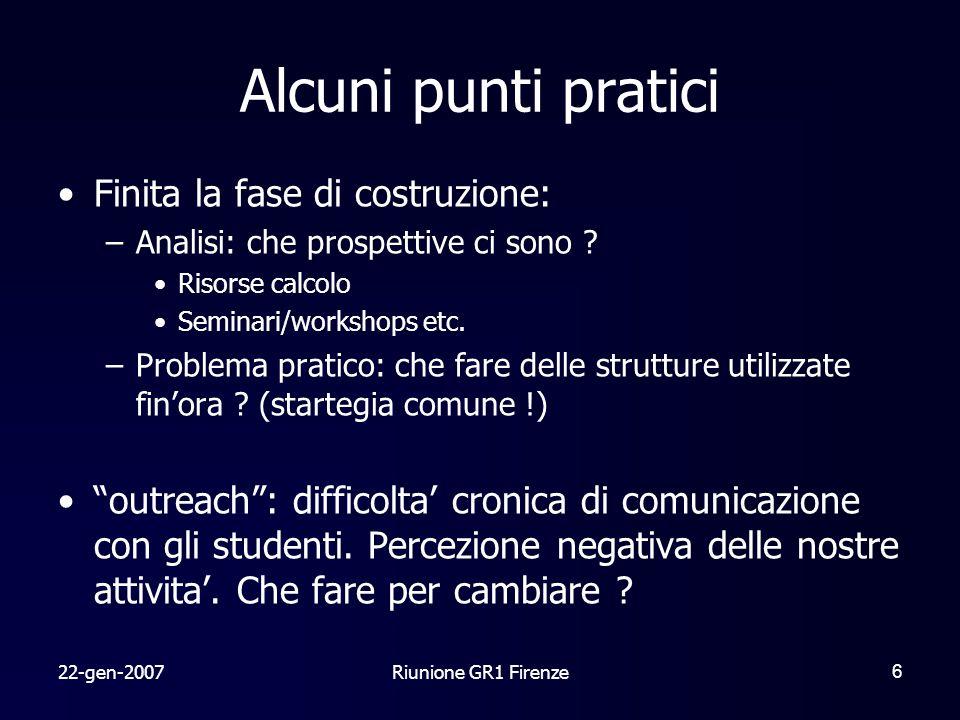 22-gen-2007Riunione GR1 Firenze6 Finita la fase di costruzione: –Analisi: che prospettive ci sono .