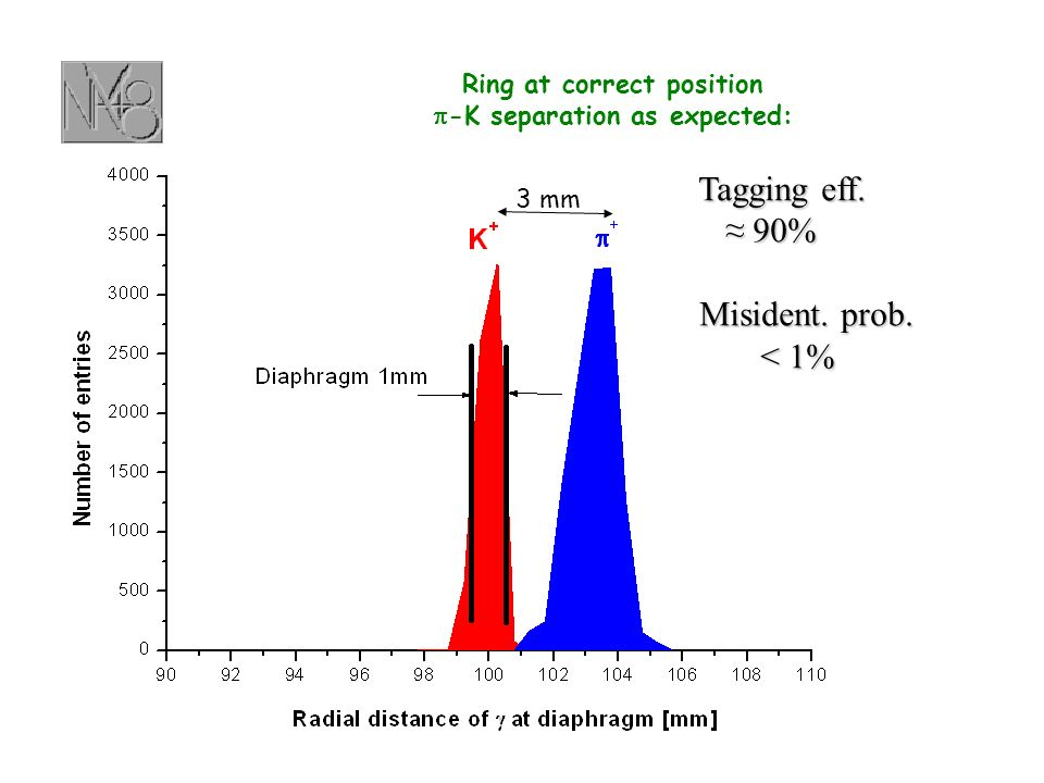 3 mm Ring at correct position -K separation as expected: Tagging eff. Tagging eff. 90% 90% Misident. prob. Misident. prob. < 1%