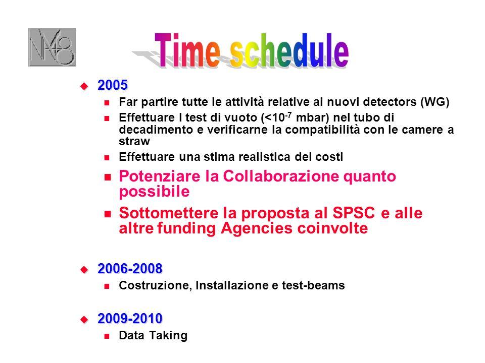 2005 2005 Far partire tutte le attività relative ai nuovi detectors (WG) Effettuare I test di vuoto (<10 -7 mbar) nel tubo di decadimento e verificarne la compatibilità con le camere a straw Effettuare una stima realistica dei costi Potenziare la Collaborazione quanto possibile Sottomettere la proposta al SPSC e alle altre funding Agencies coinvolte 2006-2008 2006-2008 Costruzione, Installazione e test-beams 2009-2010 2009-2010 Data Taking
