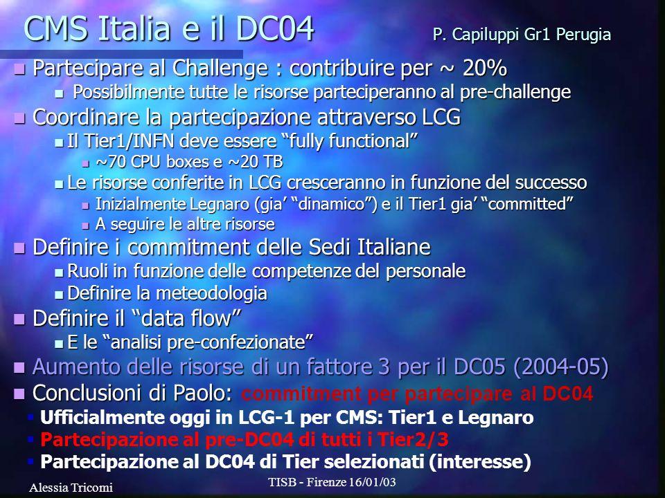 Alessia Tricomi TISB - Firenze 16/01/03 CMS Italia e il DC04 P. Capiluppi Gr1 Perugia Partecipare al Challenge : contribuire per ~ 20% Partecipare al