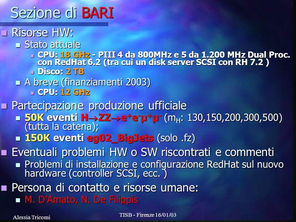 Alessia Tricomi TISB - Firenze 16/01/03 Sezione di Catania Risorse HW: Risorse HW: Stato attuale Stato attuale CPU: 3.5 GHz - 2 PIII da 866MHz Dual Proc (RedHat 6.1.1) CPU: 3.5 GHz - 2 PIII da 866MHz Dual Proc (RedHat 6.1.1) Disco: 1.3 TB (DiskServer RedHat 7.2) Disco: 1.3 TB (DiskServer RedHat 7.2) A breve (finanziamenti 2002 e 2003) A breve (finanziamenti 2002 e 2003) CPU: 38 GHz - 8 PIV Xeon da 2.4 GHz Dual Proc CPU: 38 GHz - 8 PIV Xeon da 2.4 GHz Dual Proc Disco: 0.2 TB Disco: 0.2 TB Partecipazione produzione ufficiale Partecipazione produzione ufficiale 60K eg02_BigJets (solo fz) 60K eg02_BigJets (solo fz) Altre produzioni fatte in casa: Altre produzioni fatte in casa: 150k bbH-> (diverse m A e tan ); 100k bbZ-> Pythia+CMSJET 150k bbH-> (diverse m A e tan ); 100k bbZ-> Pythia+CMSJET 600k btH + ->tb Herwig+CMSJET 150k ttbb COMPHEP+CMSJET 600k btH + ->tb Herwig+CMSJET 150k ttbb COMPHEP+CMSJET 87M SUSY ISAJET+PYTHIA, 63M tt, Z+jet, W+jet, QCD PYTHIA CMSJET 87M SUSY ISAJET+PYTHIA, 63M tt, Z+jet, W+jet, QCD PYTHIA CMSJET Eventuali problemi HW o SW riscontrati e commenti Eventuali problemi HW o SW riscontrati e commenti Problemi iniziali per linstallazione del disk-server Problemi iniziali per linstallazione del disk-server In produzione al 100% da ottobre a causa del trasferimento In produzione al 100% da ottobre a causa del trasferimento Persona di contatto e risorse umane: Persona di contatto e risorse umane: S.