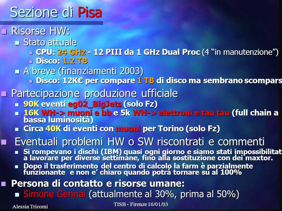 Alessia Tricomi TISB - Firenze 16/01/03 Sezione di Pisa Risorse HW: Risorse HW: Stato attuale Stato attuale CPU: 24 GHz - 12 PIII da 1 GHz Dual Proc (4 in manutenzione) CPU: 24 GHz - 12 PIII da 1 GHz Dual Proc (4 in manutenzione) Disco: 1.2 TB Disco: 1.2 TB A breve (finanziamenti 2003) A breve (finanziamenti 2003) Disco: 12K per compare 1 TB di disco ma sembrano scomparsi Disco: 12K per compare 1 TB di disco ma sembrano scomparsi Partecipazione produzione ufficiale Partecipazione produzione ufficiale 90K eventi eg02_BigJets (solo Fz) 90K eventi eg02_BigJets (solo Fz) 16K WH-> muoni e bb e 5k WH-> elettroni e tau tau (full chain a bassa luminosità) 16K WH-> muoni e bb e 5k WH-> elettroni e tau tau (full chain a bassa luminosità) Circa 40K di eventi con muoni per Torino (solo Fz) Circa 40K di eventi con muoni per Torino (solo Fz) Eventuali problemi HW o SW riscontrati e commenti Eventuali problemi HW o SW riscontrati e commenti Si rompevano i dischi (IBM) quasi ogni giorno e siamo stati impossibilitati a lavorare per diverse settimane, fino alla sostituzione con dei maxtor.