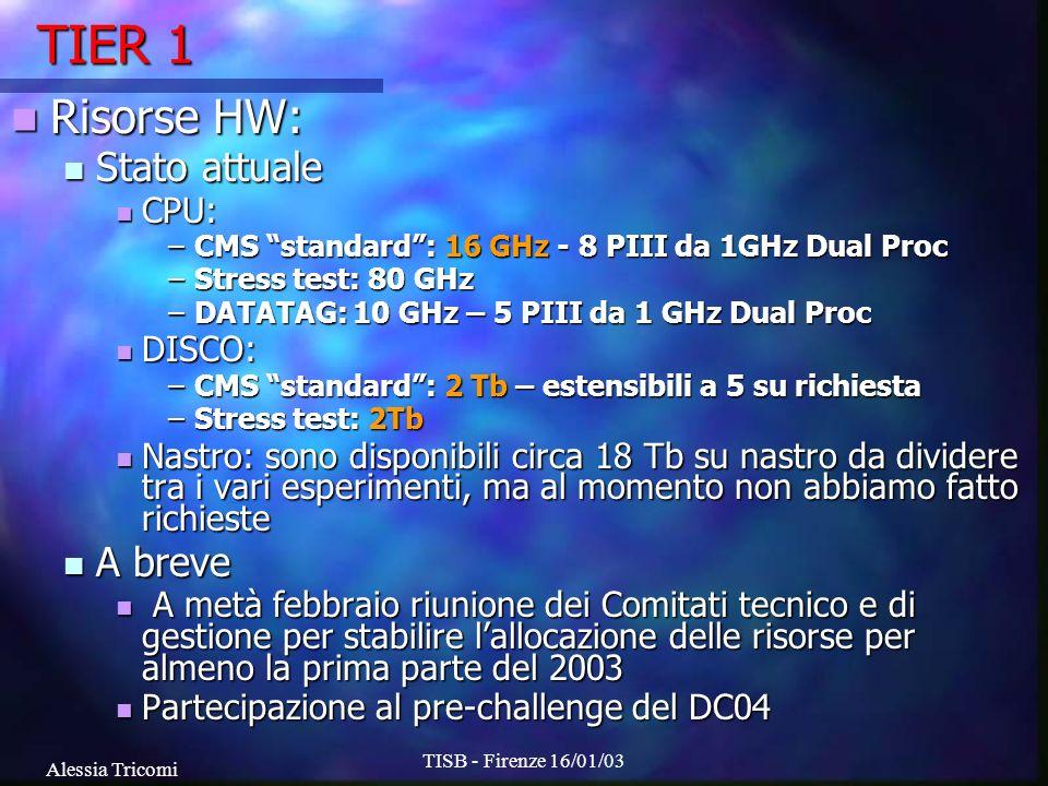 Alessia Tricomi TISB - Firenze 16/01/03 TIER 1 Risorse HW: Risorse HW: Stato attuale Stato attuale CPU: CPU: –CMS standard: 16 GHz - 8 PIII da 1GHz Dual Proc –Stress test: 80 GHz –DATATAG: 10 GHz – 5 PIII da 1 GHz Dual Proc DISCO: DISCO: –CMS standard: 2 Tb – estensibili a 5 su richiesta –Stress test: 2Tb Nastro: sono disponibili circa 18 Tb su nastro da dividere tra i vari esperimenti, ma al momento non abbiamo fatto richieste Nastro: sono disponibili circa 18 Tb su nastro da dividere tra i vari esperimenti, ma al momento non abbiamo fatto richieste A breve A breve A metà febbraio riunione dei Comitati tecnico e di gestione per stabilire lallocazione delle risorse per almeno la prima parte del 2003 A metà febbraio riunione dei Comitati tecnico e di gestione per stabilire lallocazione delle risorse per almeno la prima parte del 2003 Partecipazione al pre-challenge del DC04 Partecipazione al pre-challenge del DC04