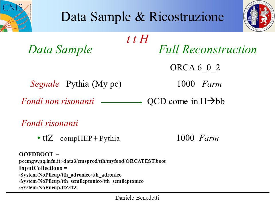 Data Sample & Ricostruzione t t H Data Sample Full Reconstruction ORCA 6_0_2 Segnale Pythia (My pc) 1000 Farm Fondi non risonanti QCD come in H bb Fondi risonanti ttZ compHEP + Pythia 1000 Farm Daniele Benedetti OOFDBOOT = pccmgw.pg.infn.it:/data3/cmsprod/tth/myfood/ORCATEST.boot InputCollections = /System/NoPileup/tth_adronico/tth_adronico /System/NoPileup/tth_semileptonico/tth_semileptonico /System/NoPileup/ttZ/ttZ