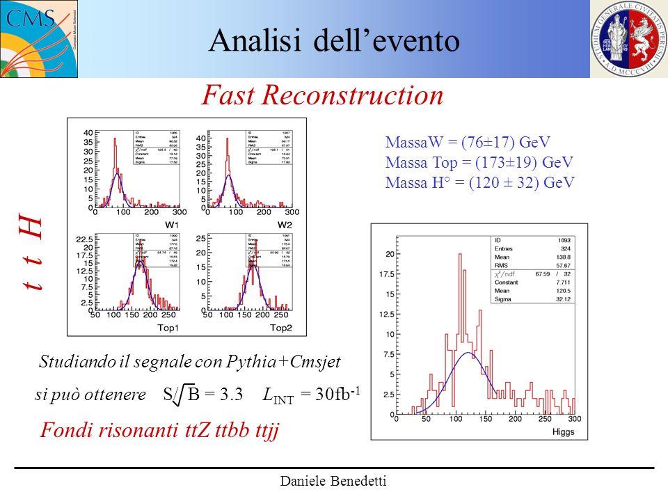 Analisi dellevento Daniele Benedetti t t H Fast Reconstruction MassaW = (76±17) GeV Massa Top = (173±19) GeV Massa H° = (120 ± 32) GeV si può ottenere S/ B = 3.3 Fondi risonanti ttZ ttbb ttjj L INT = 30fb -1 Studiando il segnale con Pythia+Cmsjet